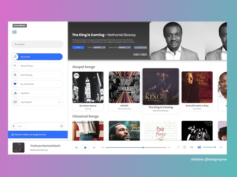 Groove Music Desktop App Redesign gradient dark uiux redesign music music player music app groove adobexd illustration vector adobe ui creative design idea clean concept creative design