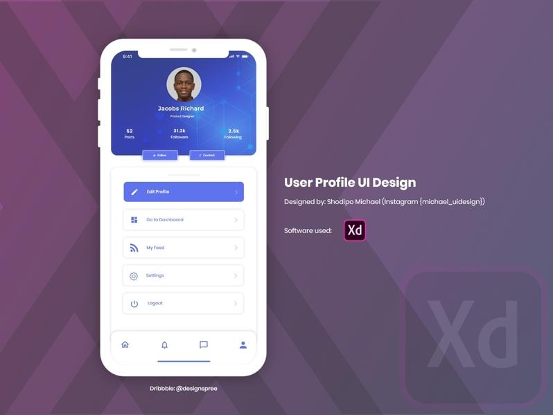 User Profile Design interface adobexduikit uiux profiles profile page profile design profile card profile user adobexd adobe illustration vector ui creative design idea clean concept creative design