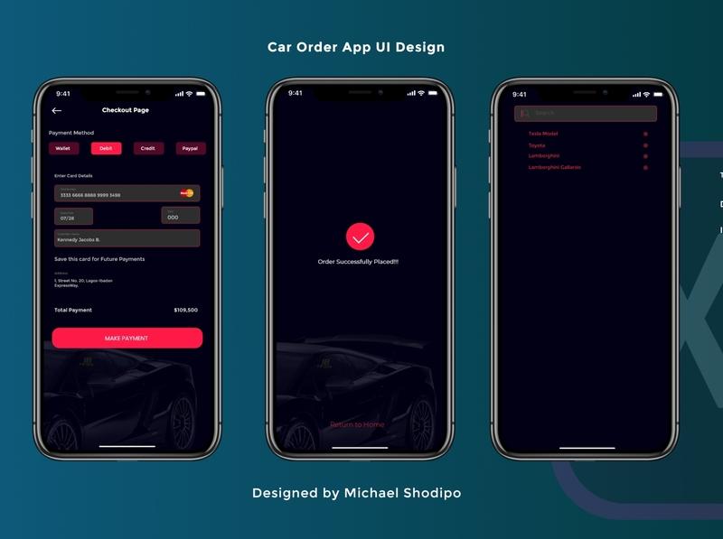 Shopping App Design Concept 💯🚀 tesla car paypal order sale payment ui dark adobexd uiux creative design idea clean concept creative design