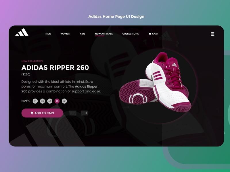 Adidas FrontPage UI Design 💯🚀 add to cart cart shopping shopping app adidas adidas originals dark theme dark app dark ui illustraion adobexd dark uiux ui creative design idea clean concept creative design