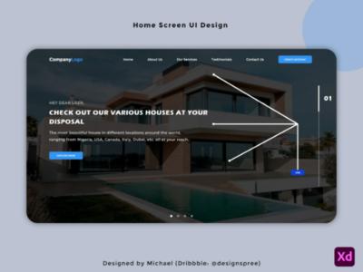 Real Estate - Home Screen UI Design website design website logo company sale order houses dribbble like ui screen home xd uiux real estate realestate creative design