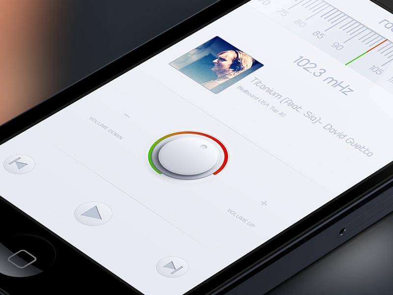 Radio App | Close Up music radio radio app userinterface ui ux clean app design play tuning iphone volume button minimal tune interface mobile ios
