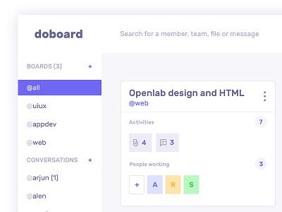 DoBoard chat team communication task drop drag image slack trello move widget ux design ui