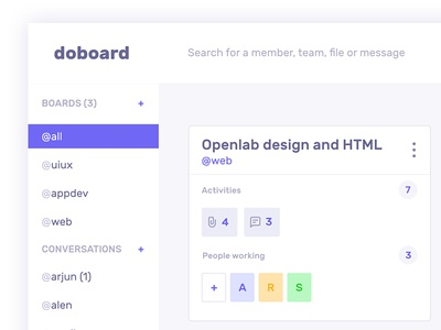 DoBoard chat team communication task drop drag image slack trello move widget ux design ui