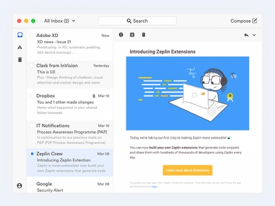 Zaaap appui design ux email mail client app mac ui