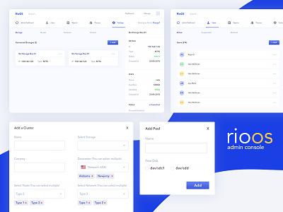 RioOS clean admin panel minimal dashboard modal ux ui console admin