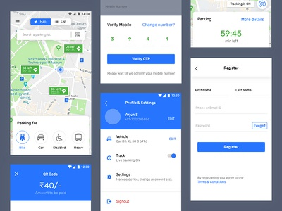 Parkapp header tracking settings page profile signup map parking ux ui app mobile app