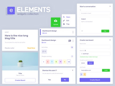 Elements snippet web minimal clean snippets assets dashboard design ux ui widget widgets