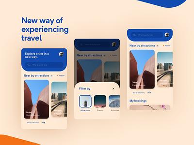 Travel App Concept design clean home page minimal ux ui