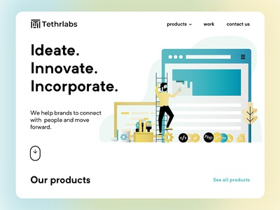 Tethrlabs illustration dashboard web design website design home page landing page
