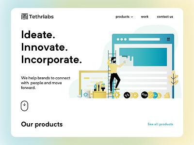 Tethrlabs illustration dashboard web design website design home page landing page