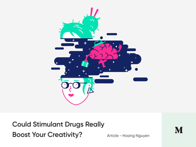 #Article 2 - Could Stimulant Drugs Really Boost Your Creativity? article illustration cybrog weed blog medium