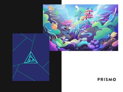 Prismo Studio Logo Design geometric design logo perspective tech kid eye symbol studio prism geometric