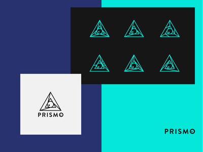 Prismo Studio Logo Design geometric design logo perspective tech kid eye symbol studio prism geometric