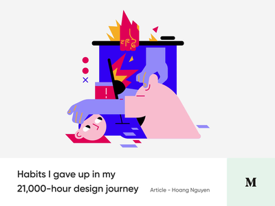#7 - Bad habits to give up as a Designer illustration better design habits blog medium article