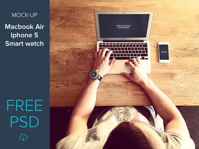 Free mockup set macbook air, iphone 5, smart watch