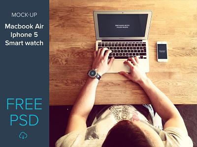 Free mockup set macbook air, iphone 5, smart watch freebie psd free photoshop iphone macbook smart watch mockup wood desk web design ap design show case