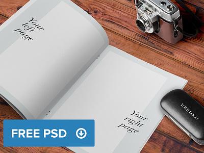 Catalogue - Brochure - Magazine A4 Mockup freebie psd free photoshop brochure mockup wood desk catalogue a4 smart object magazine profile
