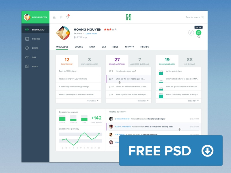 Freebie: Course Dashboard psd free dashboard ui ux course flat freebie photoshop education layout viet nam