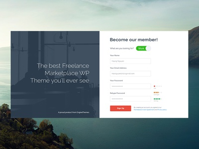 Sign Up Page - Freelancer WP Theme (WIP)