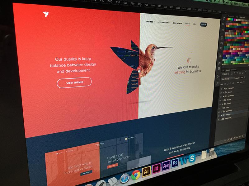 Screen Shot HomePage red theme engine hummingbird bird branding logo redesign wordpress web viet nam vietnam