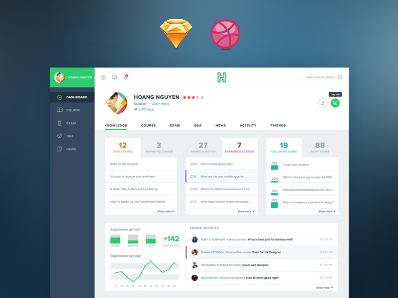 Freebie: Course Dashboard (Sketch) invitation invite viet nam layout education freebie flat course ui dashboard free sketch