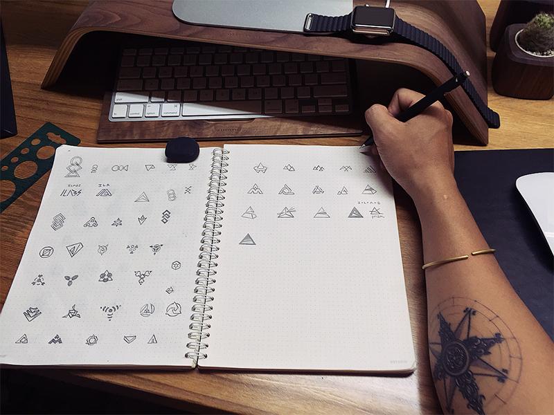 Logo Sketching process arm tattoo work space sketching logo