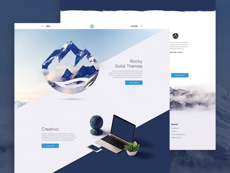 Rocky Redesign W.I.P vietnam clean rock landingpage homepage theme mountain redesign website ui