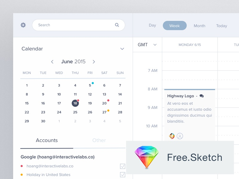 Calendar Free Sketch Download tasks hour day simple clean sketch app free freebie dashboard calendar