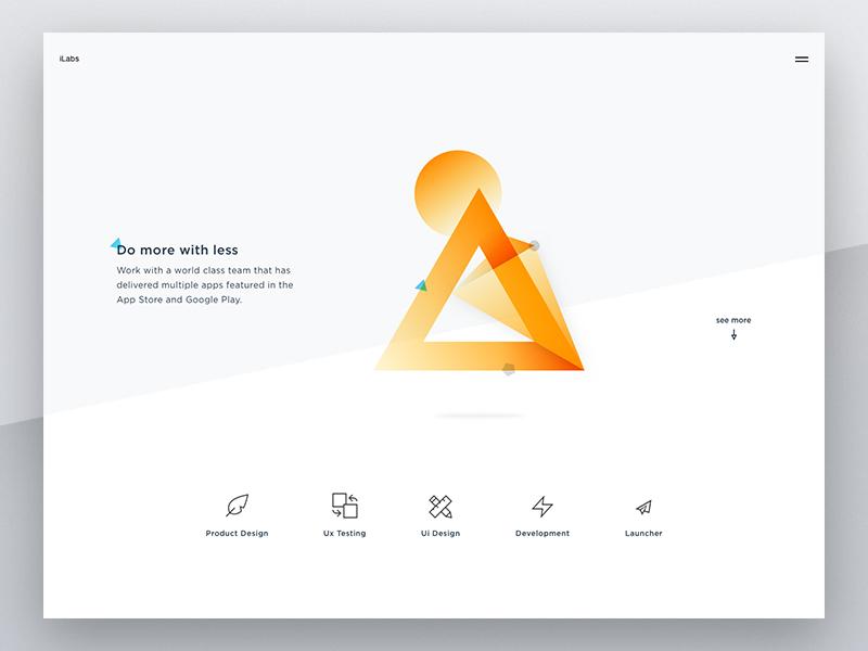 iLabs Web Concept 1 vietnam simple flat yellow gradient minimalist rebranding triangle website homepage clean