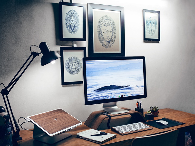 My Workplace at home work space poster wood workplace table studio office freelancer desk computers