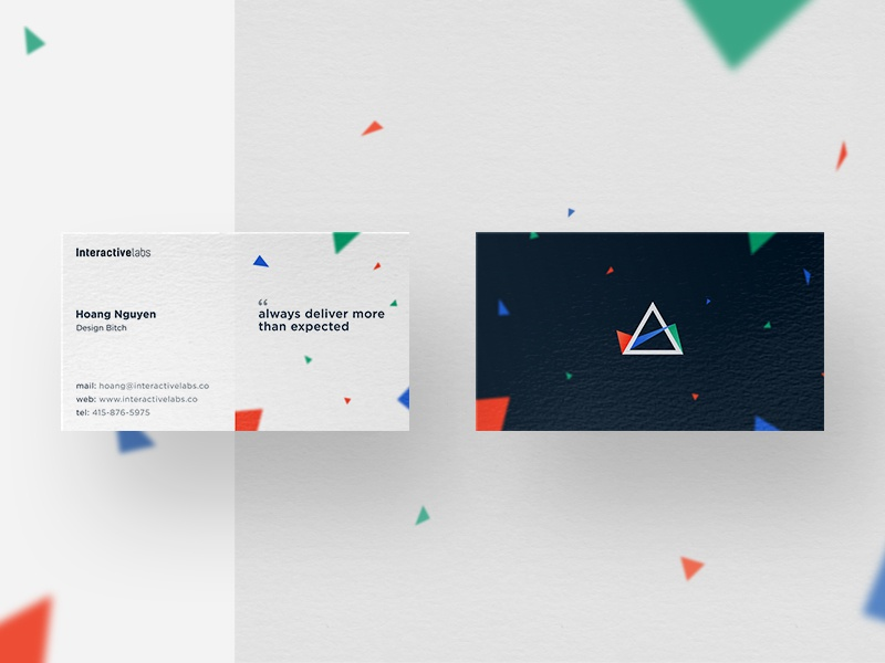 iLabs Business Card trifecta vietnam title rgb particle paralax triangle logo clean branding business card