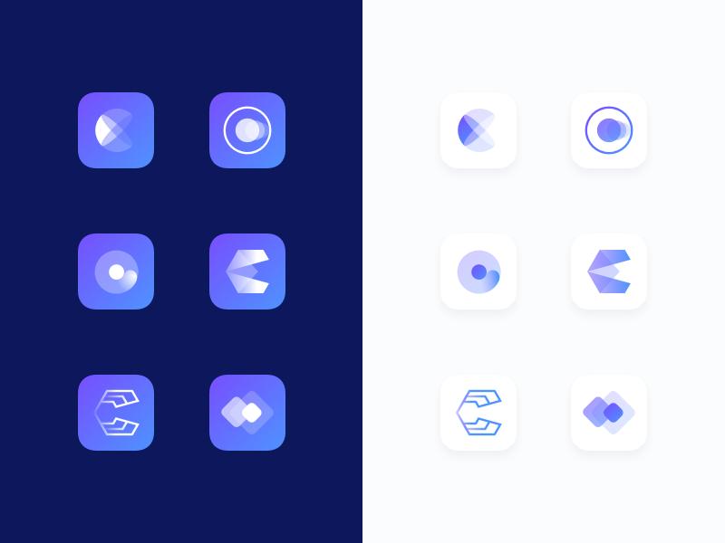 App Icon Explorations light blue dark gradient coin symbols hitech c mark icon logo