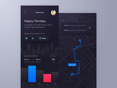 Traffic Flow Tracking App dark flow location destination road traffic tracking map app route