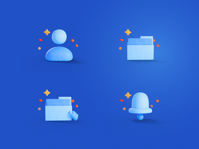 3D Icons direction bell notification private user profile folder document 3d icon