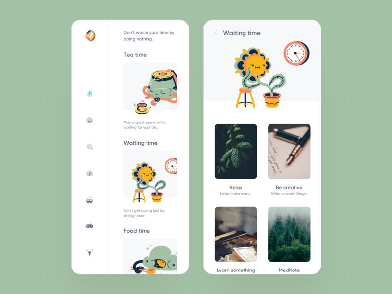 TimeKiller App learn creative meditate relax food tea free kill time illustration clean app