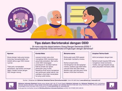 Make interaction with dementia patient indonesia alzheimer affinity designer flat vector design
