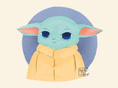 Baby Yoda (the child) disney art artwork procreate illustration design the mandalorian starwars baby yoda