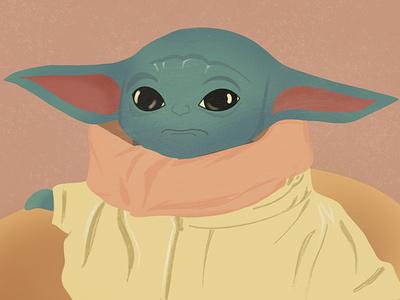 Baby Yoda baby yoda flat procreateapp procreate illustration vector
