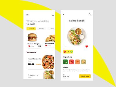 Fast Food Ordering App clean ui minimalistic food app ui fast food menu ordering app fastfood