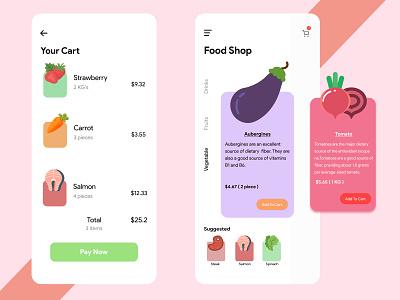 Online Food Buying App vegetable shop social app clean design minimalistic cute ui clean ui chittagong online buying app online shopping online food ordering app online shop