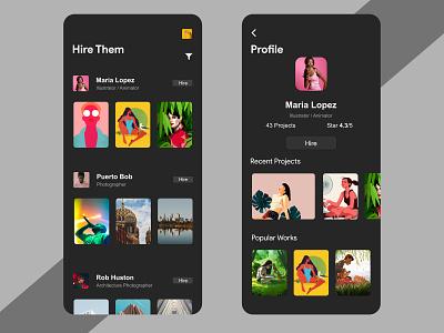 Hiring Artist App dark mode cute ui minimalistic clean design homepage dark ui iamrahmannayan bangladesh chittagong hiring artist app social app socialmedia app hire app hiring app