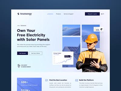 Solar Panel Landing Page UI website engineer solar energy homepage interface landing ux ui web landing page design