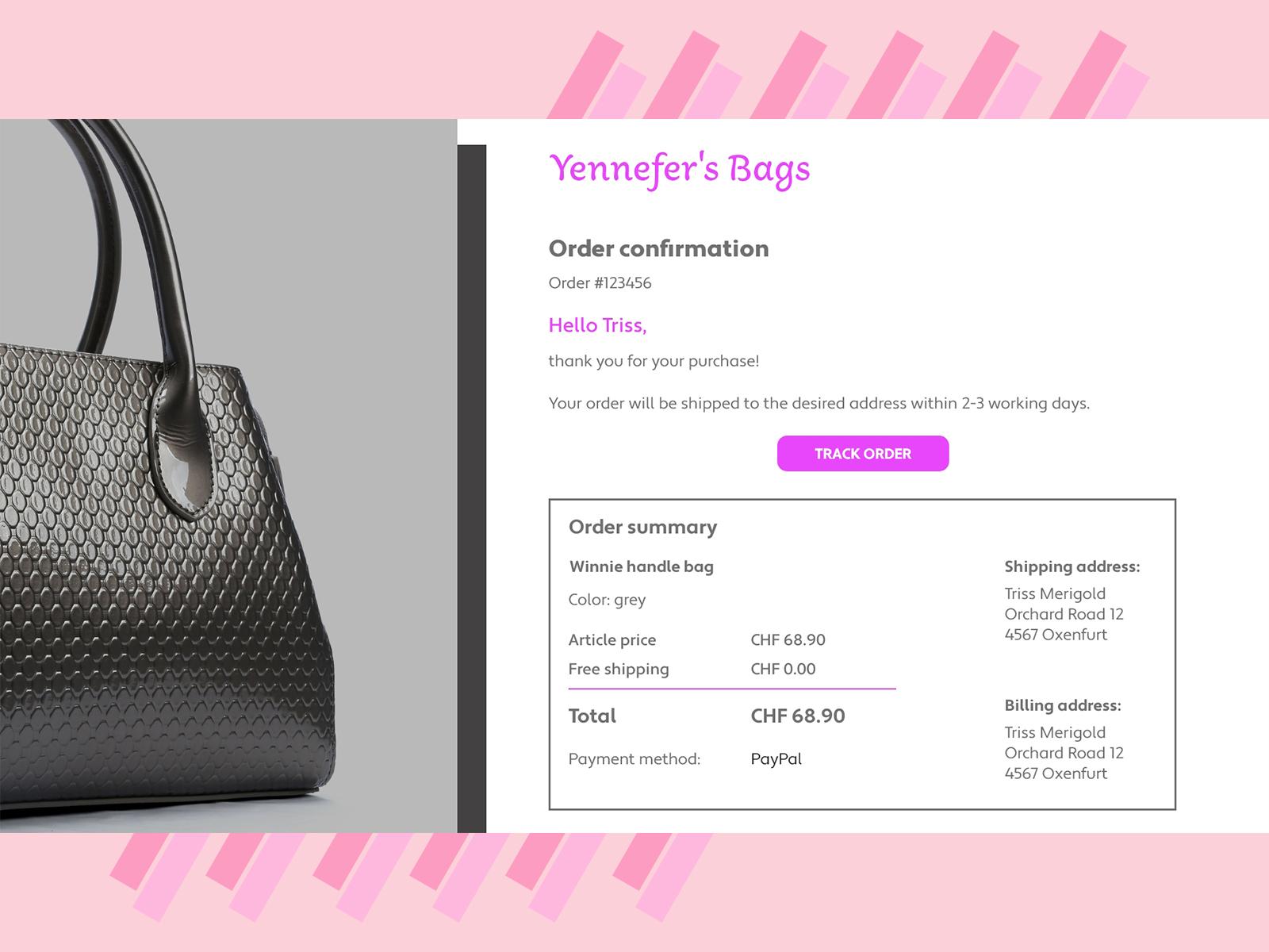 Design challenge - E-mail receipt