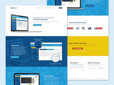 Product site web webdesign microsite flat blue startup product