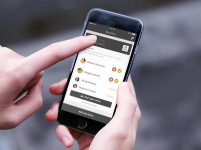 Pickaseat / Carpooling app flat dark carpool car iphone6 iphone ios app
