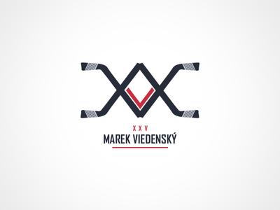 Hockey player personal logo blue red stick player hockey identity logo