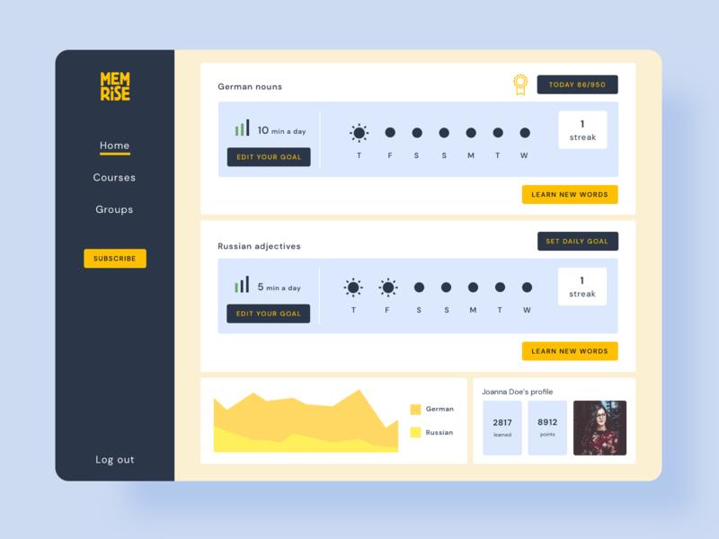 Memrise redesign blue redesign concept redesign learning platform learning dashboard uiux design ux ui