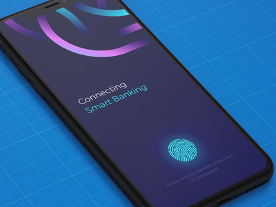 Launch screen finance fingerprint typography color ui