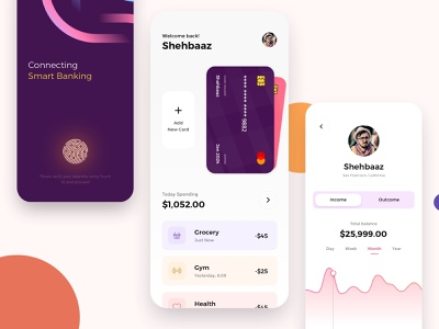 Banking and Finance Mobile App banking banking app illustration card mobile ios typography color ux ui design clean